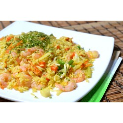 golden-rice with shrimps